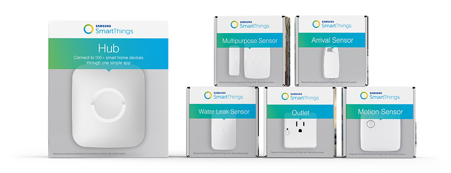 Samsung SmartThings Hub and devices. CES 2016 Editors' Choice Award Winner.